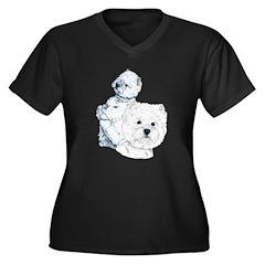 Westie Pair Women's Plus Size V-Neck Dark T-Shirt