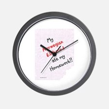 Elkhound Homework Wall Clock