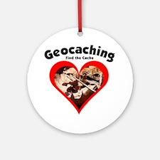 Geocaching Heart Ornament (Round)