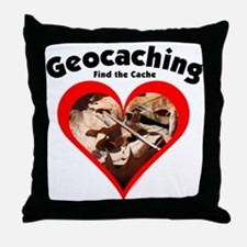 Geocaching Heart Throw Pillow