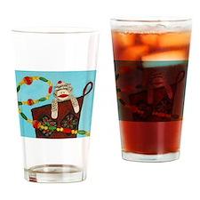 Christmas Stocking Monkey Drinking Glass