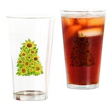 Sunflower Christmas Tree Drinking Glass