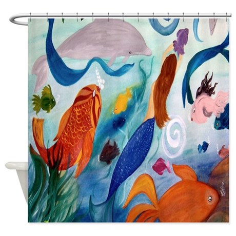 Mermaid and tropical fish party art shower curtain by for Tropical fish shower curtain
