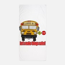 Safer school bus Beach Towel