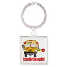 Safer school bus Square Keychain