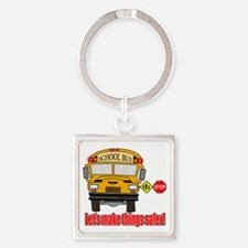 Safer school bus Square Keychain