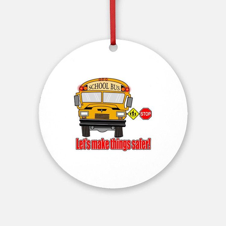 Safer school bus Ornament (Round)
