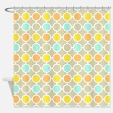 Yellow Orange Aqua Circles Pattern Shower Curtain