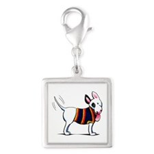 Bull Terrier Blue Silver Square Charm