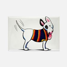 Bull Terrier Blue Rectangle Magnet