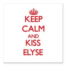 "Keep Calm and Kiss Elyse Square Car Magnet 3"" x 3"""