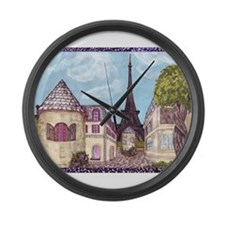 ParisCityscape70x54in Large Wall Clock