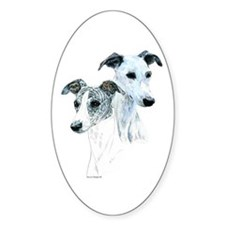Whippet Pair Oval Decal