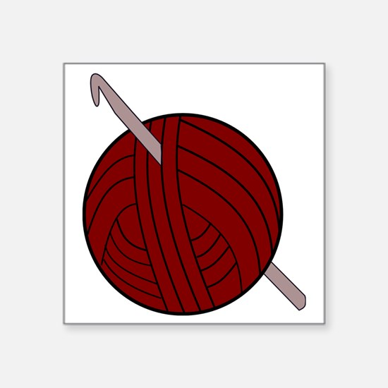 """Yarn and Hook Square Sticker 3"""" x 3"""""""