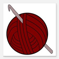 """Yarn and Hook Square Car Magnet 3"""" x 3"""""""