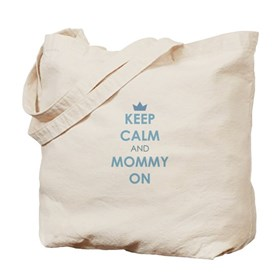Keep Calm and Mommy On Blue Tote Bag