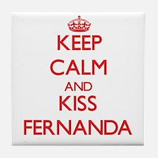 Keep Calm and Kiss Fernanda Tile Coaster