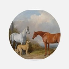 """Two Horses and a Deerhound 3.5"""" Button"""
