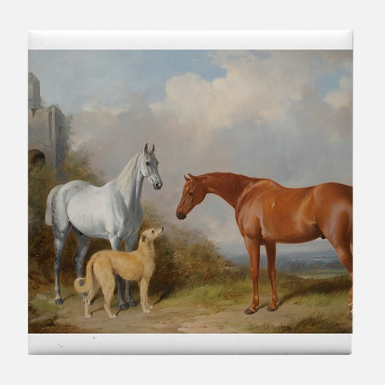 Two Horses and a Deerhound Tile Coaster