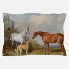 Two Horses and a Deerhound Pillow Case