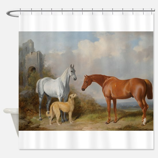 Two Horses and a Deerhound Shower Curtain