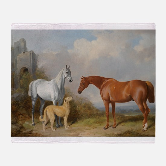 Two Horses And A Deerhound Throw Blanket