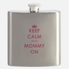 Keep Calm and Mommy On pink Flask
