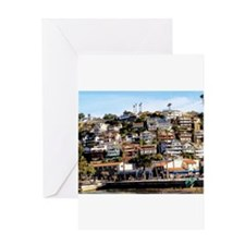 Houses On The Hill Greeting Cards
