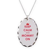 Keep Calm and Mommy On red Necklace