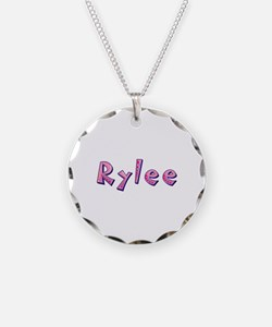 Rylee Pink Giraffe Necklace Circle Charm