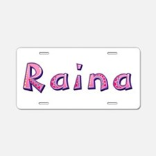 Raina Pink Giraffe Aluminum License Plate