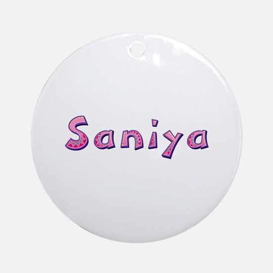 Saniya Pink Giraffe Round Ornament