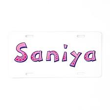 Saniya Pink Giraffe Aluminum License Plate