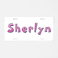 Sherlyn Pink Giraffe Aluminum License Plate