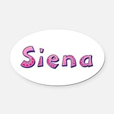 Siena Pink Giraffe Oval Car Magnet