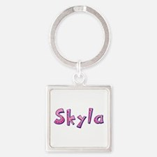 Skyla Pink Giraffe Square Keychain