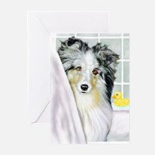 Blue Merle Sheltie Bath Greeting Cards (Package of