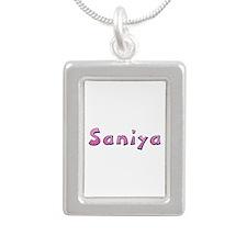 Saniya Pink Giraffe Silver Portrait Necklace