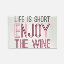 Life Short Wine Rectangle Magnet