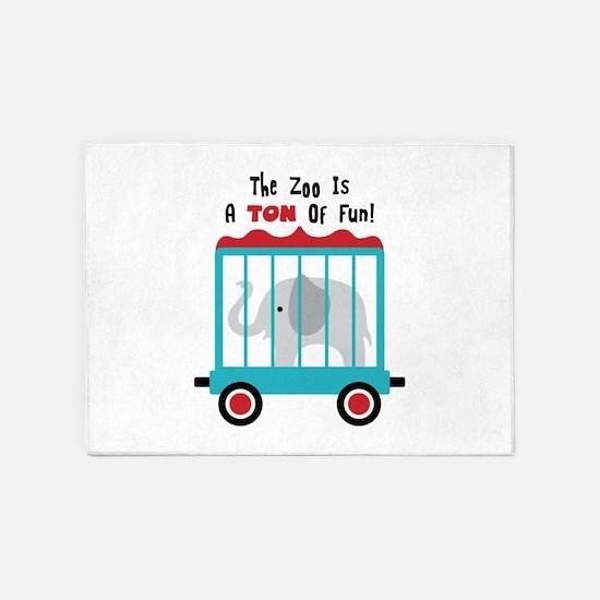 The Zoo Is A Ton Of Fun! 5'x7'Area Rug
