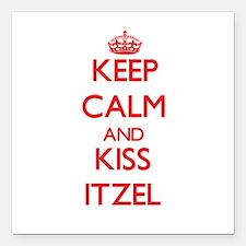 "Keep Calm and Kiss Itzel Square Car Magnet 3"" x 3"""