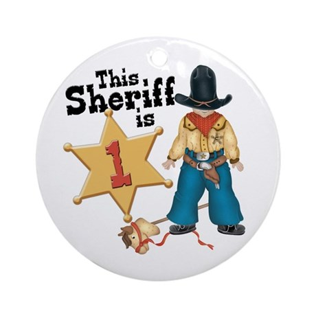 Sheriff First Birthday Ornament (Round)