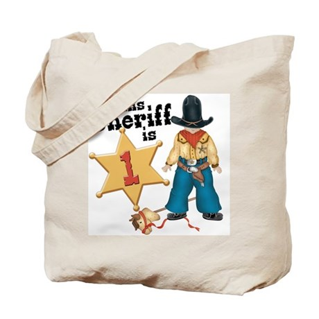 Sheriff First Birthday Tote Bag