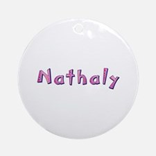 Nathaly Pink Giraffe Round Ornament