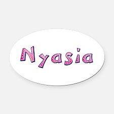 Nyasia Pink Giraffe Oval Car Magnet