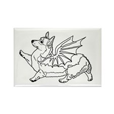 Welsh Corgon - Line Drawing - Rectangle Magnet