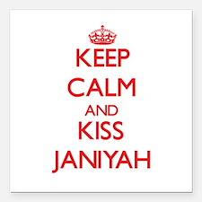 "Keep Calm and Kiss Janiyah Square Car Magnet 3"" x"