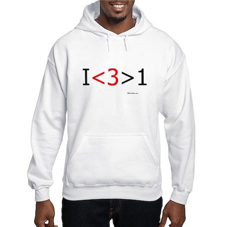 I love more than one (red hea Hooded Sweatshirt