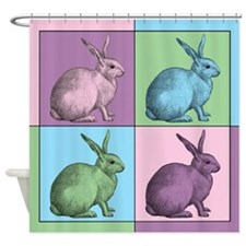 Easter Bunny Warhol Shower Curtain