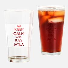 Keep Calm and Kiss Jayla Drinking Glass